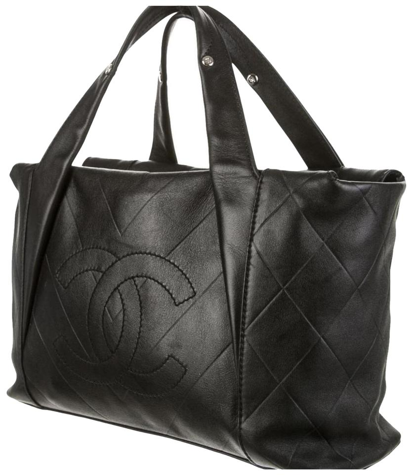 841ad86e800b Chanel Cc Chevron Quilted All Day Long Satchel Black Calfskin Leather Tote