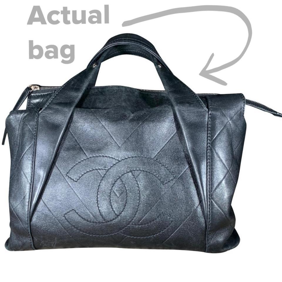 2dd544e114a5 Chanel Cc Chevron Quilted All Day Long Satchel Black Calfskin Leather Tote  - Tradesy