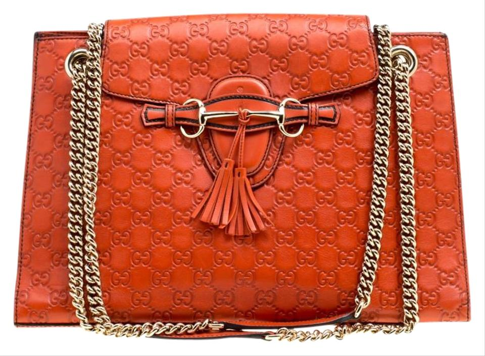 Gucci Emily Guccissima Large Chain Orange Leather and Canvas Shoulder Bag 762eb3109411d