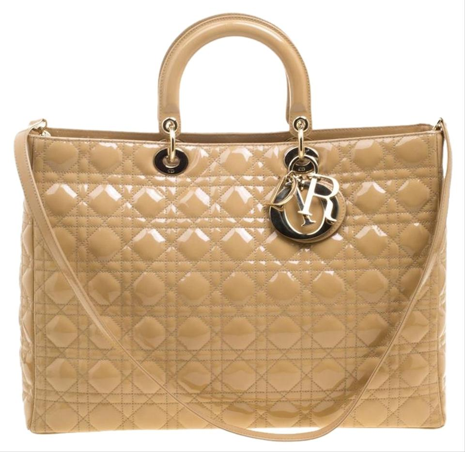 Dior Lady Dior Extra Large Beige Patent Leather Tote - Tradesy 617db206639a5