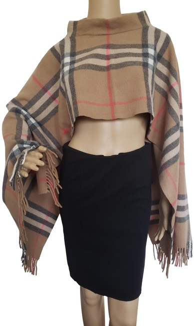 Item - Brown Beige Multicolor London Nova Check Wool Lightweight Poncho/Cape Size OS (one size)