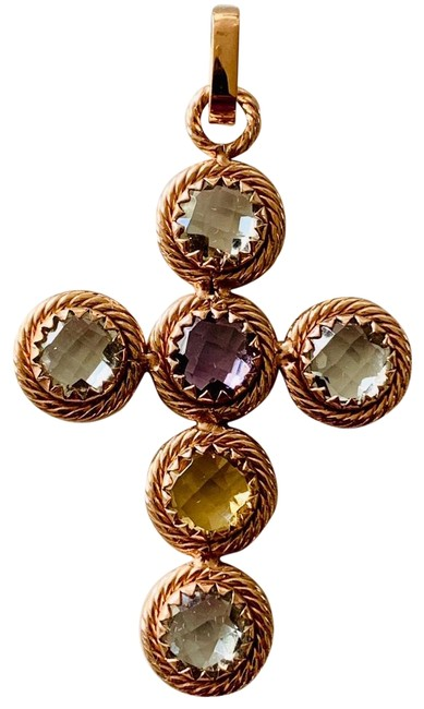Item - Gold Italy Stainless Steel Gemstone Cross Necklace