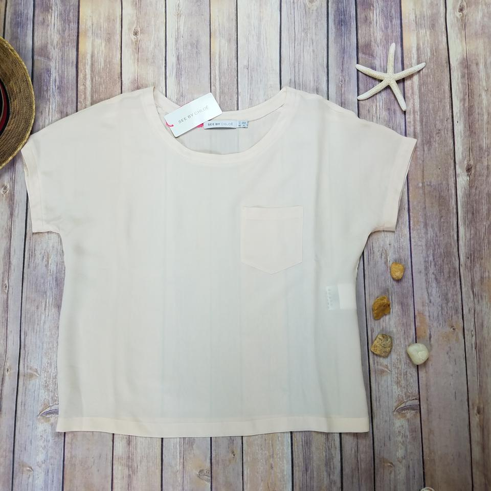 450ab5a77c025 See by Chloé Beige New Women Short Sleeves Silk Blouse Size 4 (S ...