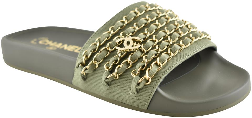 b73890878c61 Chanel Green Khaki Canvas Gold Chain Iconic Cc Tropiconic Logo Mule ...