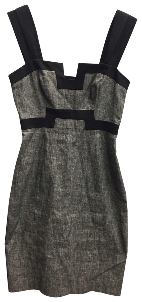4fe47c22 Black Halo Grey Linen Pencil Or Wiggle Short Casual Dress Size 2 (XS ...