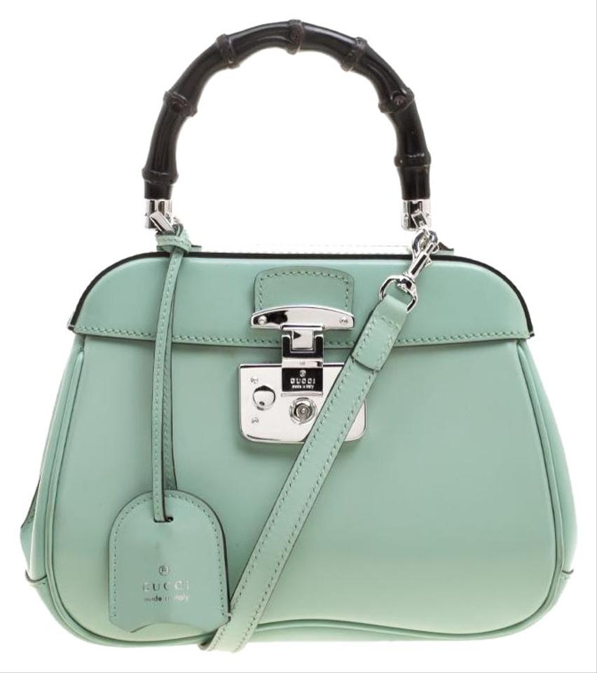 Gucci Mini Lady Lock Bamboo Top Handle Green Patent Leather and Suede  Satchel 7e0acf00ba23f