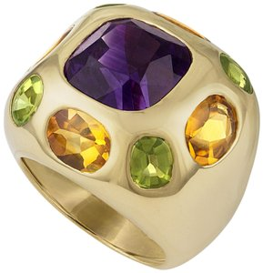Chanel Chanel 18K Yellow Gold Amethyst, Citrine and Peridot Ring Size: 3.5