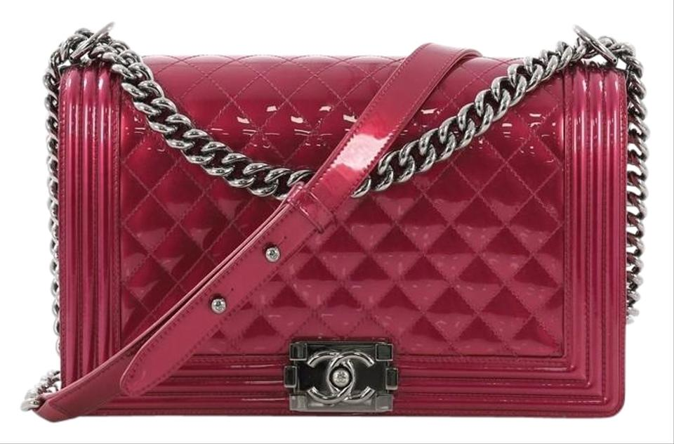 98b686367f60 Chanel Classic Flap Boy Quilted Patent New Medium Pink Leather Shoulder Bag