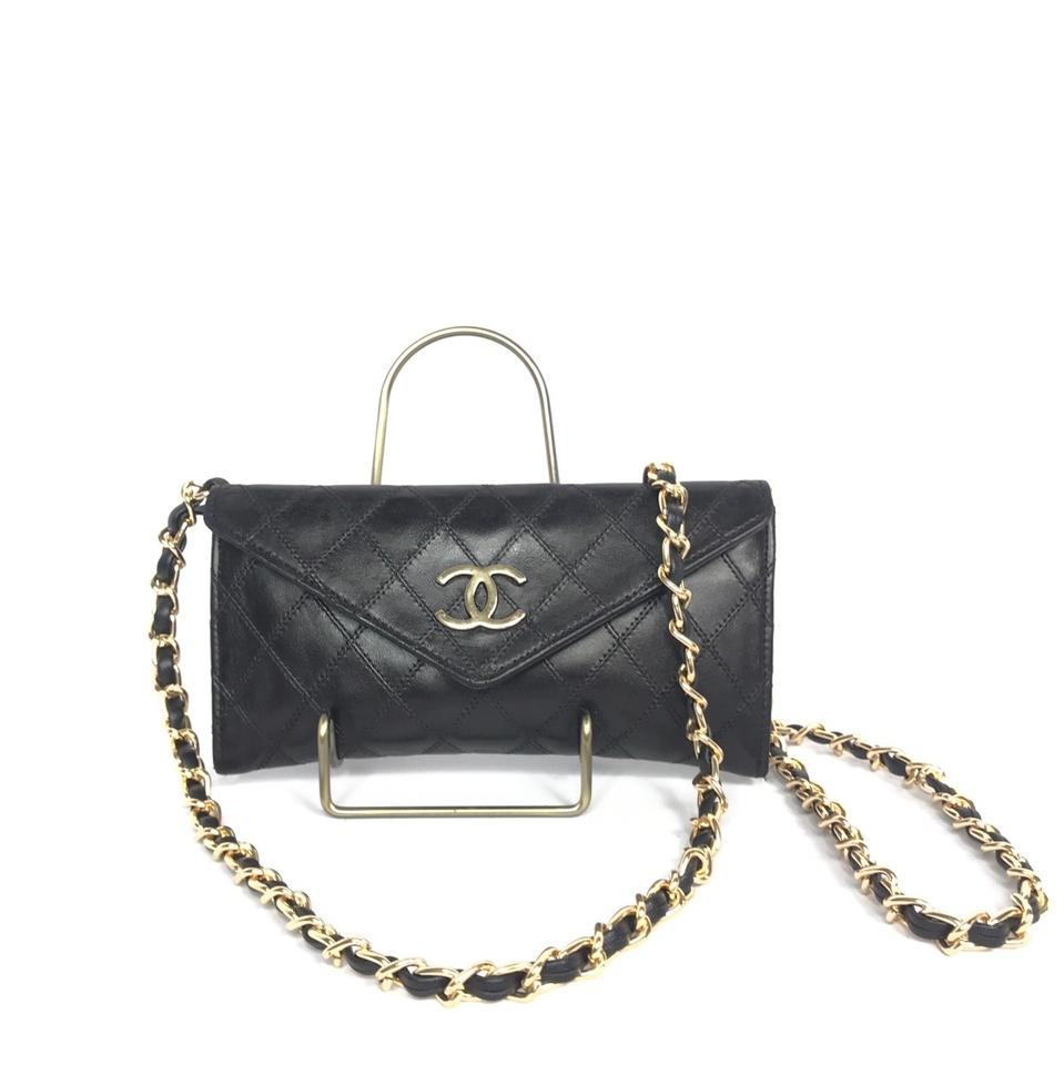 0f3574b502eb Chanel Wallet on Chain Vintage Cc Logo Chain Wallet Black Leather ...