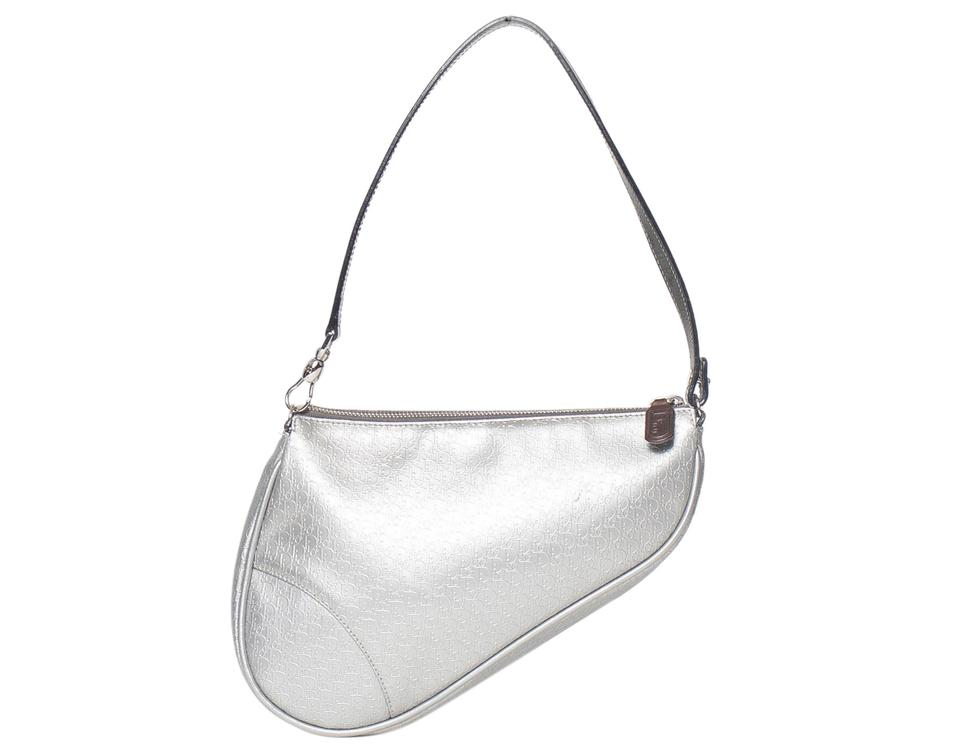 0748c5d7a Dior Christian Mini Saddle Silver Patent Leather Shoulder Bag - Tradesy