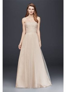 David's Bridal Ivory/Champagne Polyester/Tulle Strapless A-line Beaded Lace Formal Wedding Dress Size 4 (S)