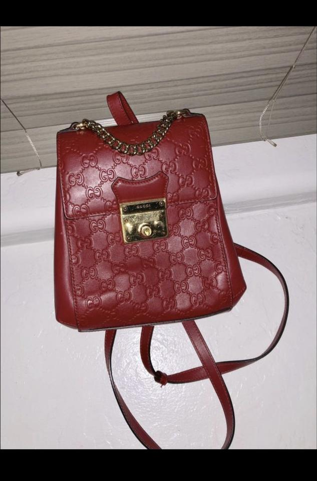 32b42347cd6cdc Gucci Padlock Guccissima Purse Red Lambskin Leather Backpack - Tradesy