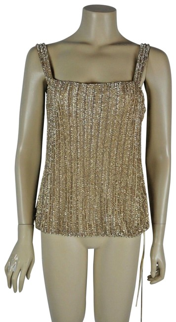 Item - Gold Beaded Camisole Tank Top/Cami Size 12 (L)
