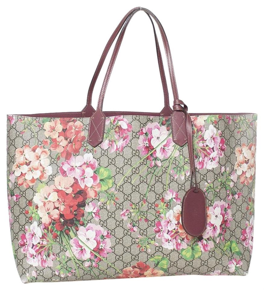 f3907aeed60b Gucci Reversible Blooms Red Coated Canvas Tote - Tradesy