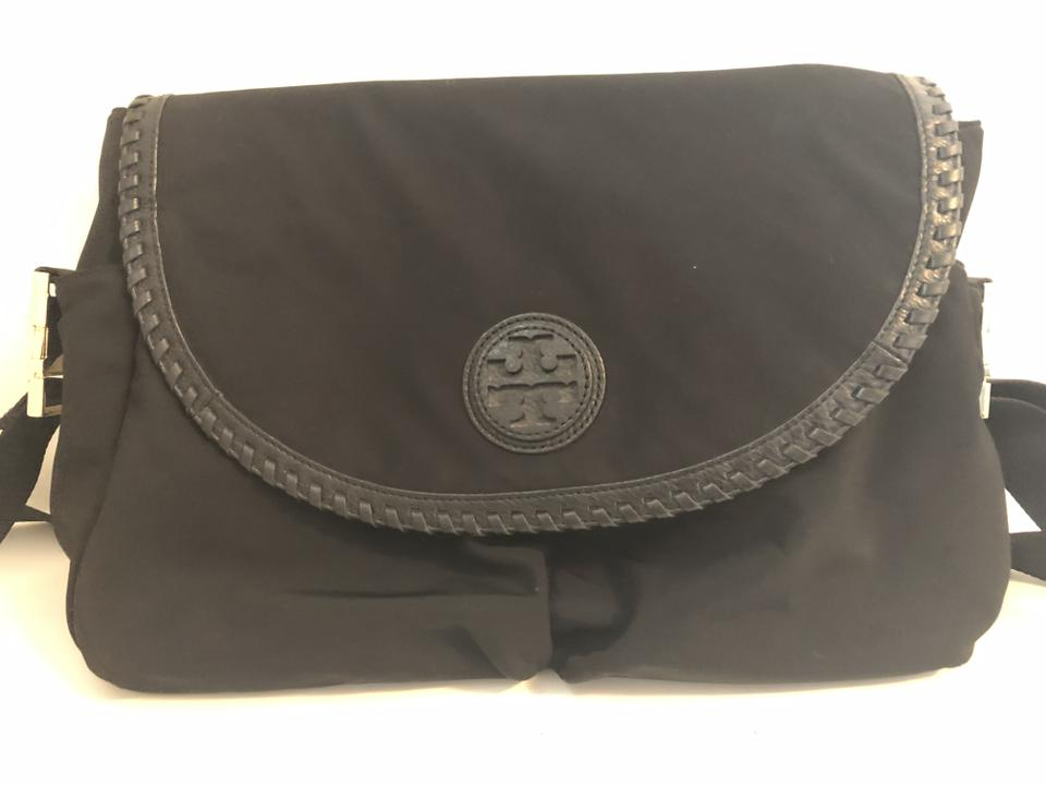 024ebf8689d3 Tory Burch Marion Messenger Black Nylon with Leather Trim Diaper Bag ...