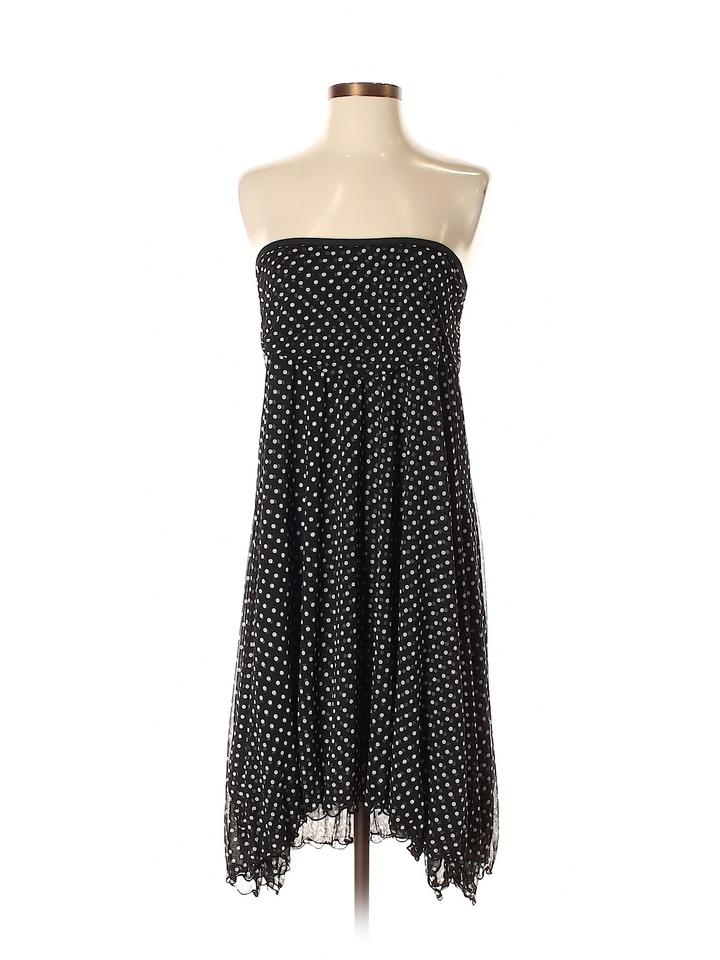 c4a3039687 Lynn Ritchie short dress Black White Silk Chiffon Strapless Polka Dot Pin  Up on Tradesy Image ...