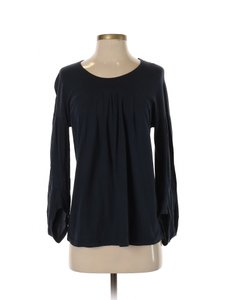 Anthropologie Cotton Poet Blouse Pleated Top Blue