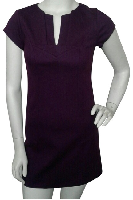 Item - Purple Cap Sleeve Wool Fitted Short Cocktail Dress Size 0 (XS)