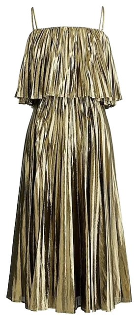 Item - Gold Collection Pleated Midi In Lame K4474 Mid-length Night Out Dress Size 14 (L)
