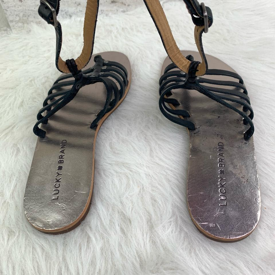 d9b62dbbf429 Lucky Brand Black Silver Cymaa Leather Gladiator Sandals Size US 6.5 ...