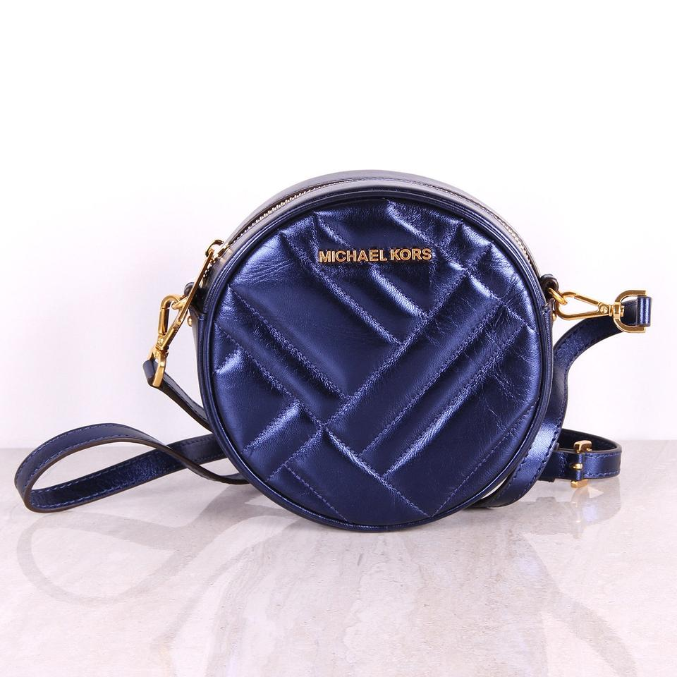 7a9249d47b41 Michael Kors Vivianne Canteen Quilted Petal Blue Leather Cross Body ...
