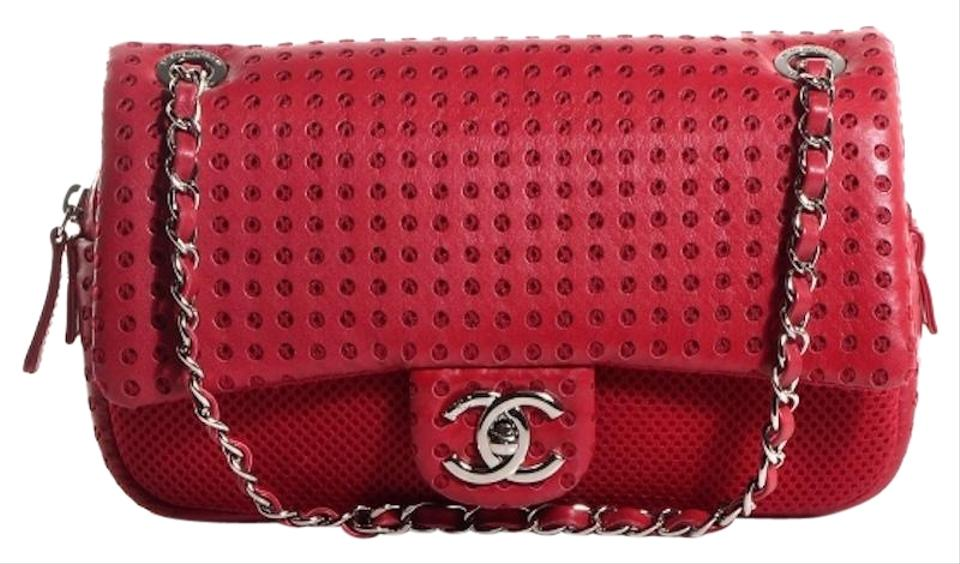 d9b9e16075c5ae Chanel Easy Perforated Drill Classic Mesh Quilt Single Flap Cc Logo Red  Lambskin Leather Shoulder Bag