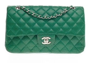 Chanel Perforated Classic Flap Drill Double Flap Quilted Lambskin Shoulder Bag