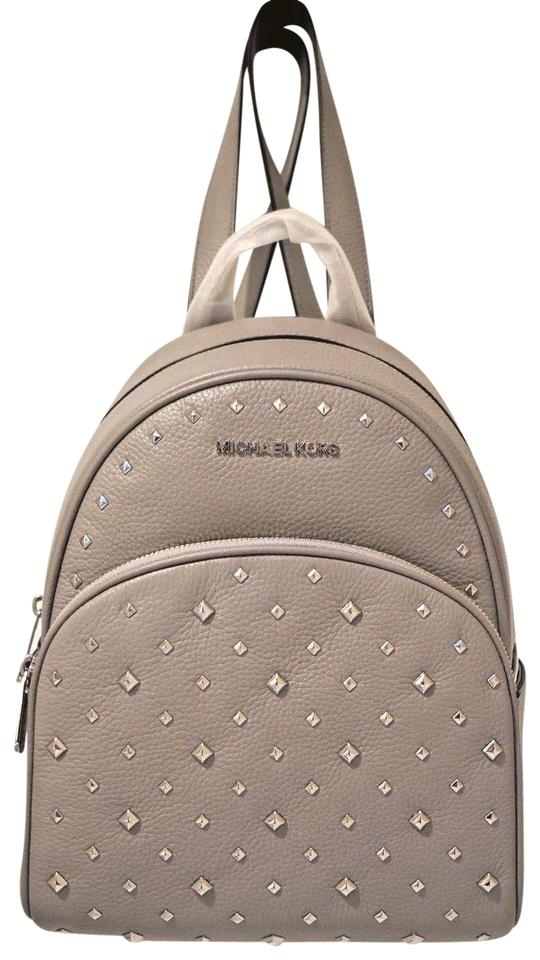 70bea95165a3 Michael Kors Abbey Medium Studded Ash Grey Leather Backpack - Tradesy
