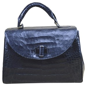 Maxima Crocodile Leather Fall Winter Vintage Satchel in BLACK