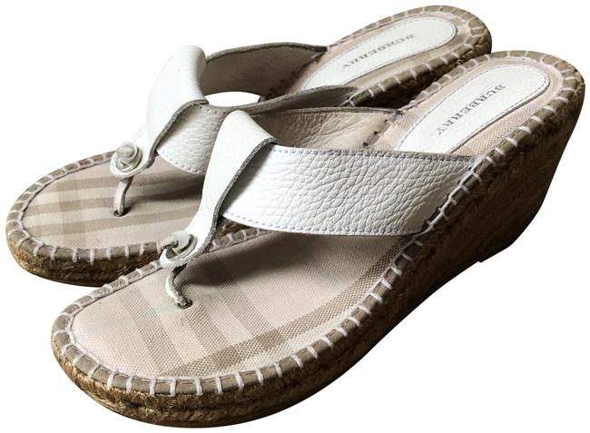Item - White Leather Thong Wedges Size EU 39 (Approx. US 9) Regular (M, B)
