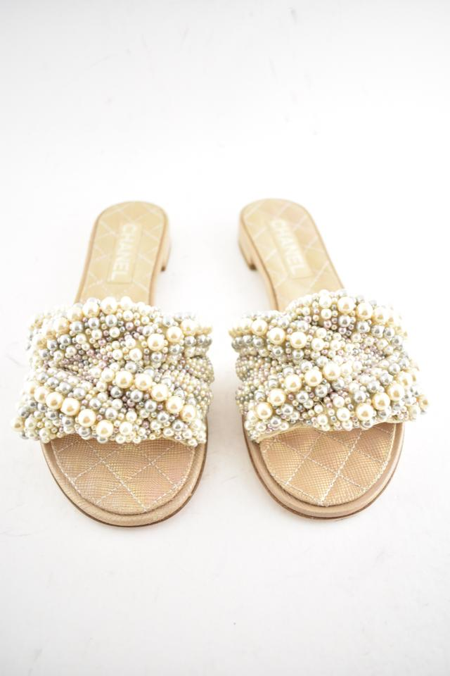 34684423c4ffdf Chanel Ivory 18s Pearl Fantasy Sandals Size EU 37 (Approx. US 7 ...