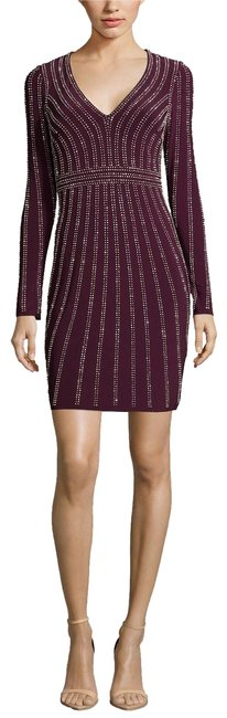 Item - Wine Embellished Bodycon Mid-length Formal Dress Size 4 (S)