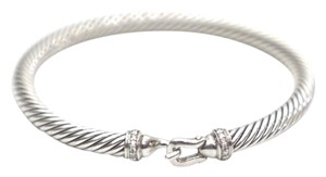 David Yurman Diamond 5mm Cable Hook Sterling Silver Bracelet
