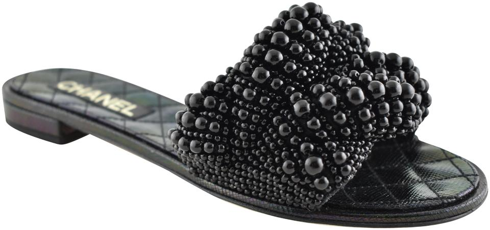 ca2be3b31286 Chanel Black 18s Pearl Fantasy Calfskin Cc Logo Quilted Mule Slide ...