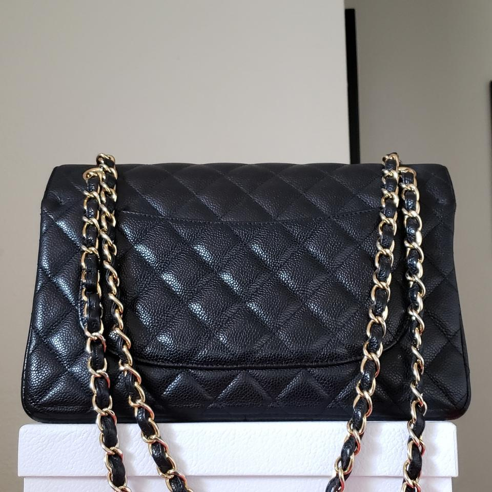 022b7ff29740 Chanel Classic 200 Double Flap Chain Jumbo Caviar Black Patent Leather  Shoulder Bag - Tradesy