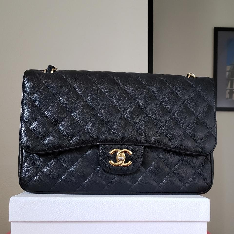 425fe35b7893 Chanel Classic 200 Double Flap Chain Jumbo Caviar Black Patent ...