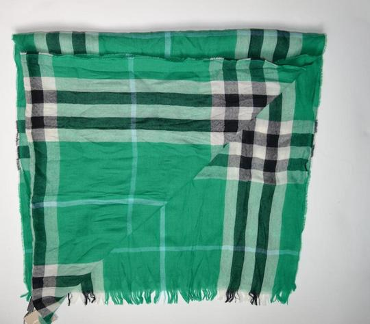 Burberry NWT BURBERRY CHECK CASHMERE WOOL CRINKLED SCARF WRAP Image 1