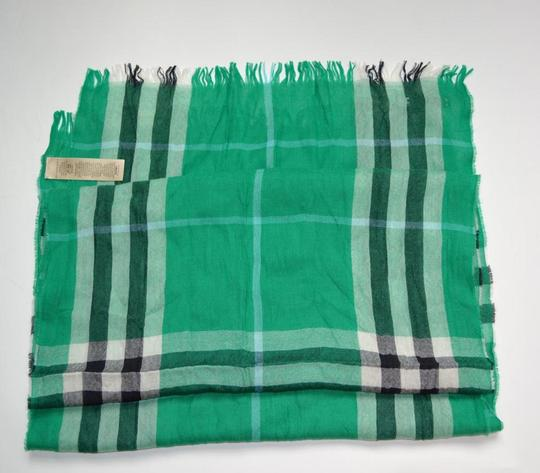 Burberry NWT BURBERRY CHECK CASHMERE WOOL CRINKLED SCARF WRAP Image 2