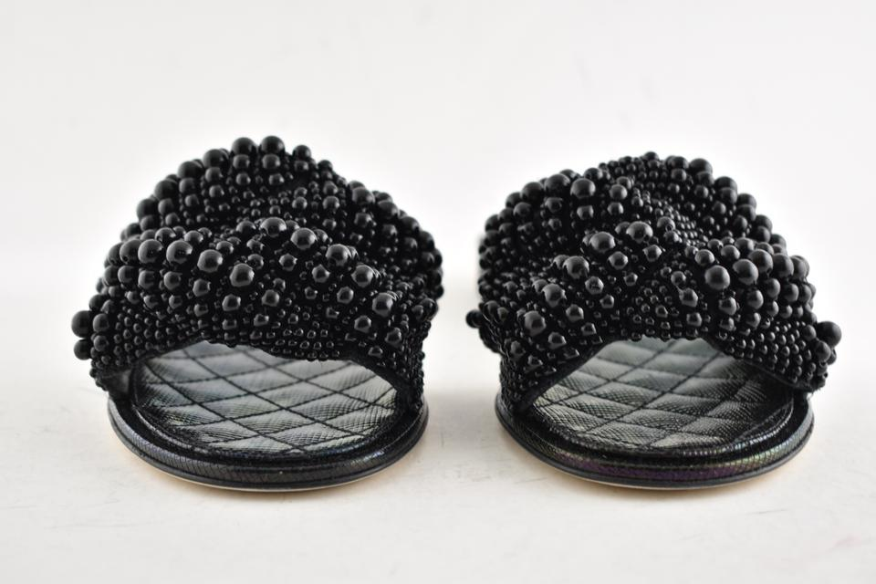 6943acc35d39 Chanel Black 18s Pearl Fantasy Calfskin Cc Logo Quilted Mule Slide ...