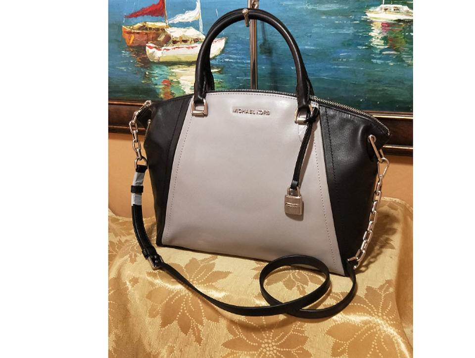 01849c528a4a Michael Kors Messenger Sadie Medium Gray Black Smooth Leather ...