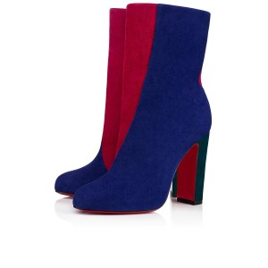 Christian Louboutin Moulamax Floral Stiletto Ankle blue Boots