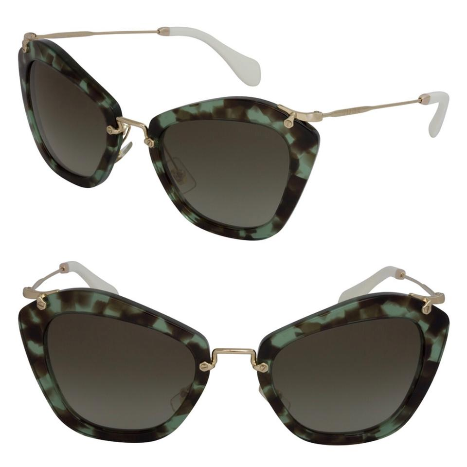2141616ac6c Miu Miu Grey Green Havana Women s Mu10ns 55mm Sunglasses - Tradesy