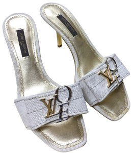 Louis Vuitton Beige, Tan, Gold, Silver Mules