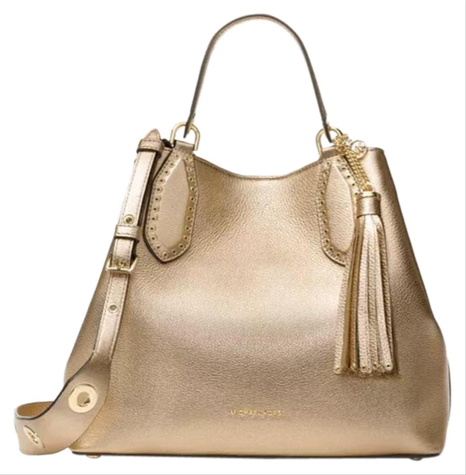 803baed76 Michael Kors Pale Brooklyn Large Metallic Gold Leather Satchel - Tradesy