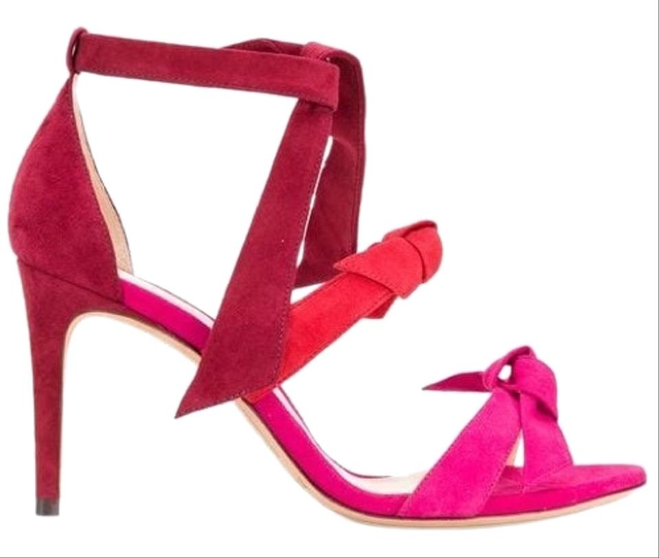 3c68c3fdf88a9a Alexandre Birman Raspberry Flame Pink Lolita 3 Bow Ombre Suede Sandal  Formal Shoes