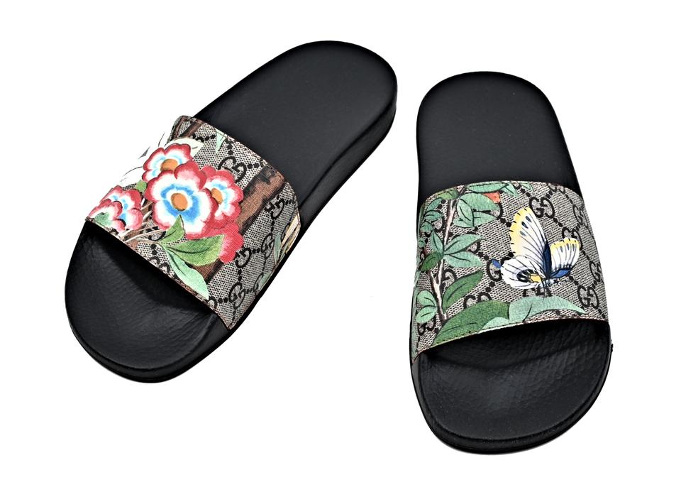 23b44fe265dc Gucci Multicolor Women s Gg Supreme Tian Printed Slides Sandals Size ...