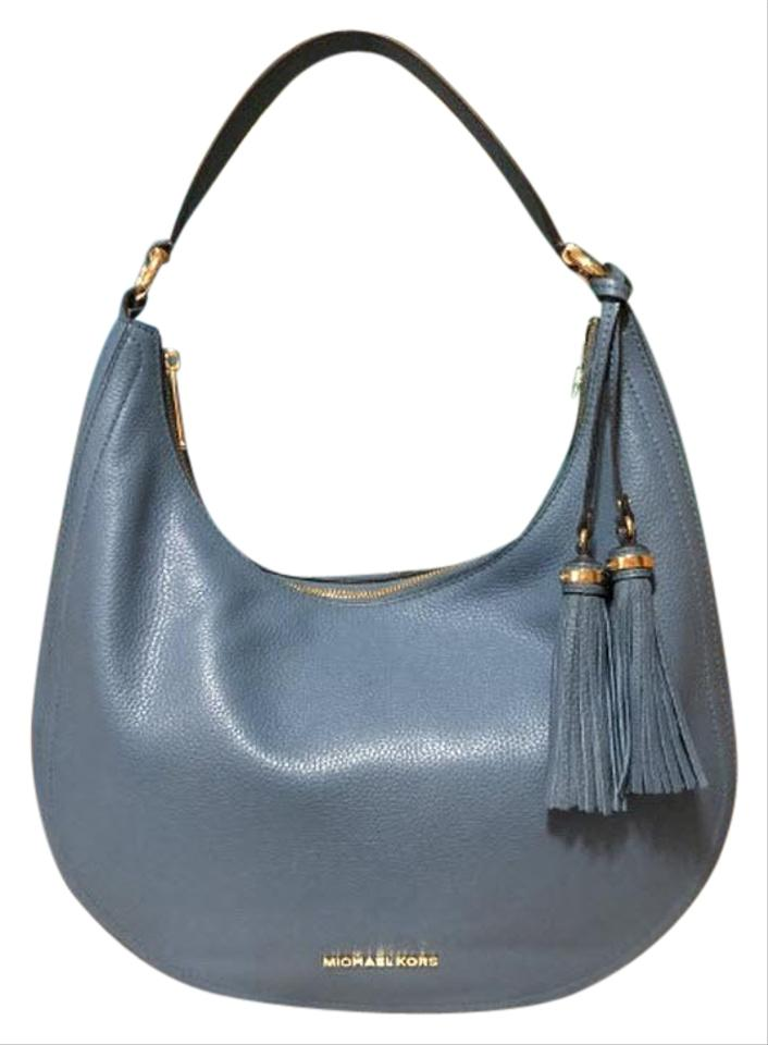 55a575ea1f79 Michael Kors Shoulder Lydia Denim Blue Leather Hobo Bag - Tradesy