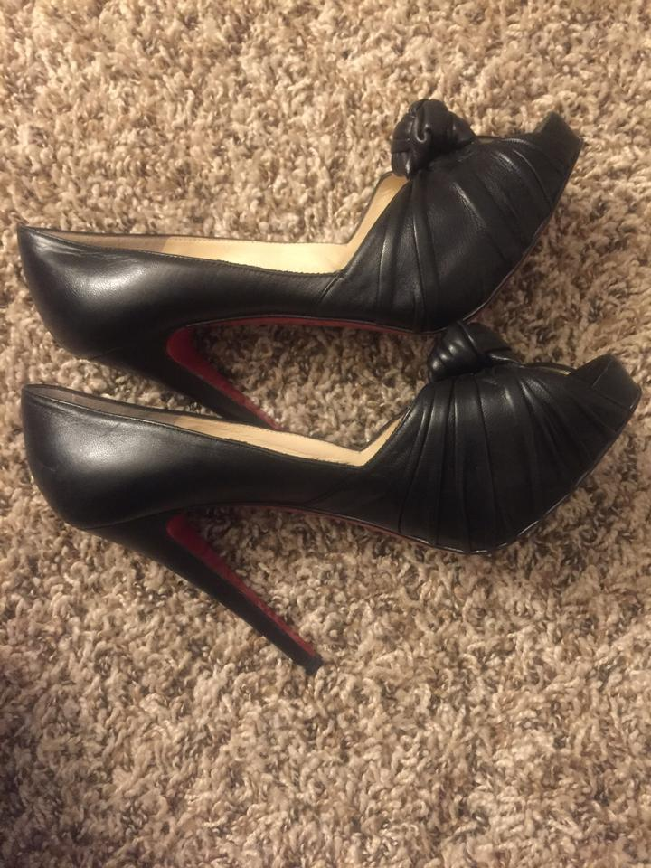 8bbce08f1c3 Christian Louboutin Black Greissimo Knotted Leather Pumps Size EU 37.5  (Approx. US 7.5) Regular (M, B)