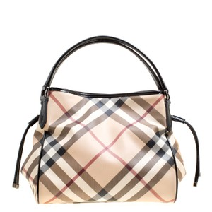 Burberry Canvas Patent Leather Tote in Beige
