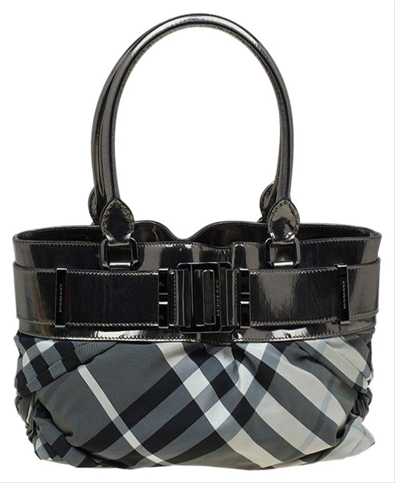 1cd030782d4c Burberry Grey Beat Check and Leather Small Healy Metallic Nylon Tote ...